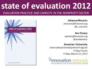 State of Evaluation 2012: Evaluation Practice and Capacity in the Nonprofit Sector