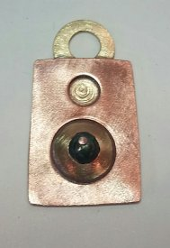 Copper and Brass Pendant with a Fresh-water Pearl