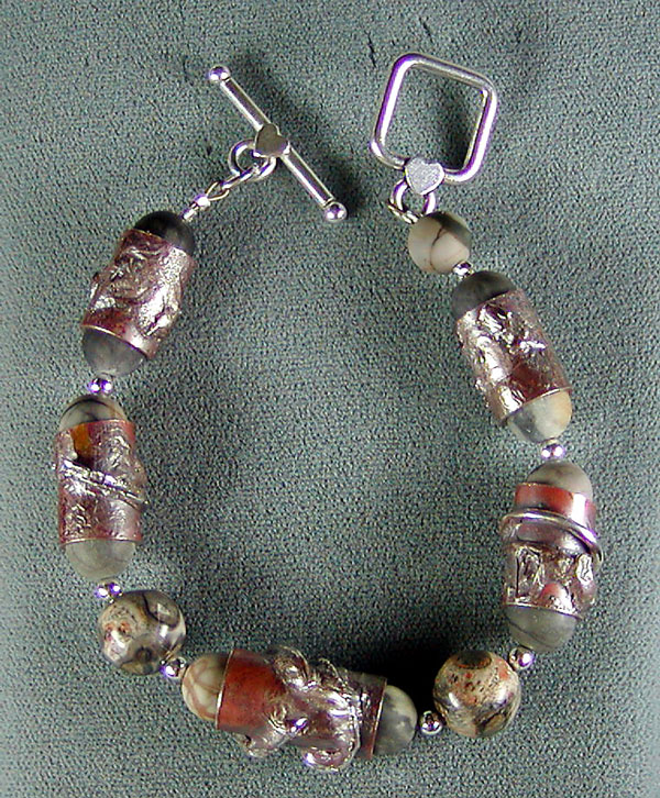 Bracelet with Copper and Silver hand-made beads and Jasper