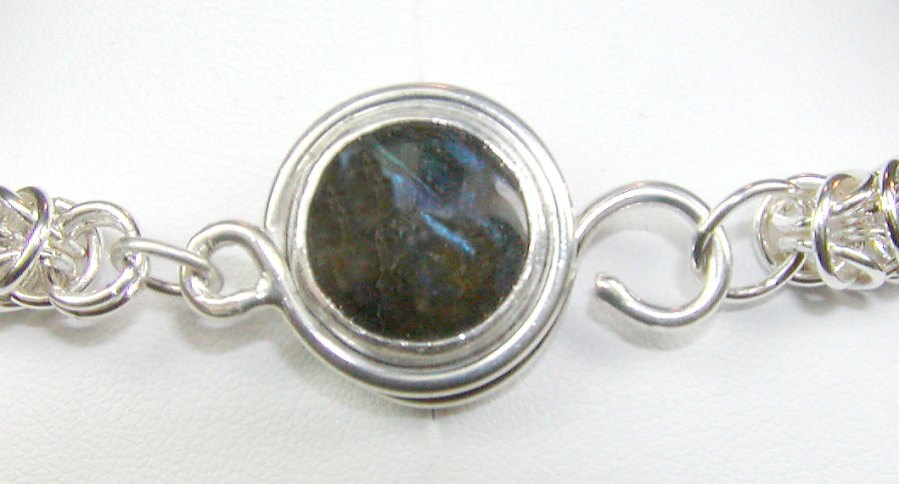 Labradorite and Sterling Hand-made clasp