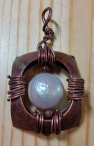 Torched Copper Pendant with Mother of Pearl and Poppy Jasper