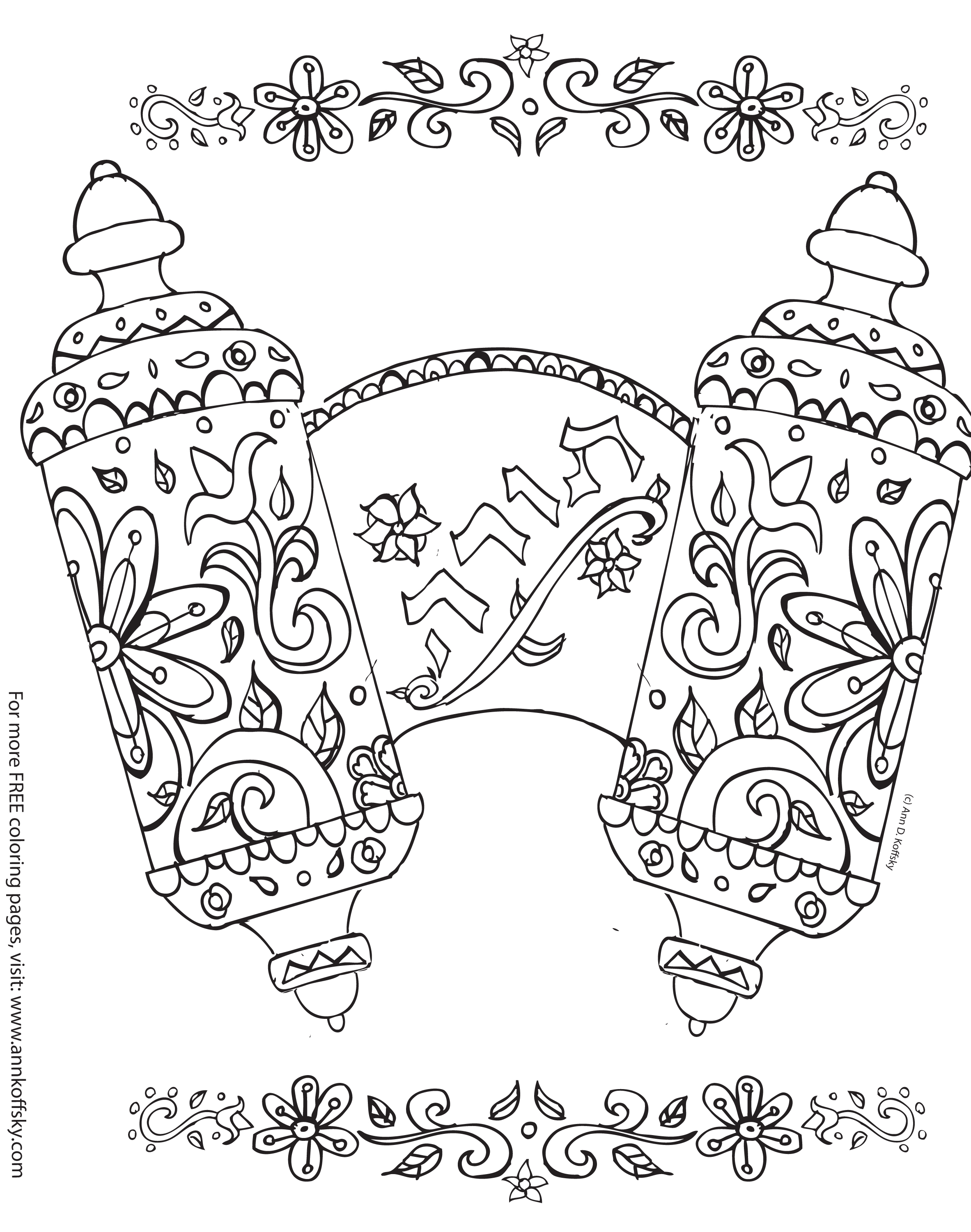 Torah Scroll Coloring Page Coloring Pages