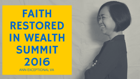 Faith Restored in Wealth Summit 2016