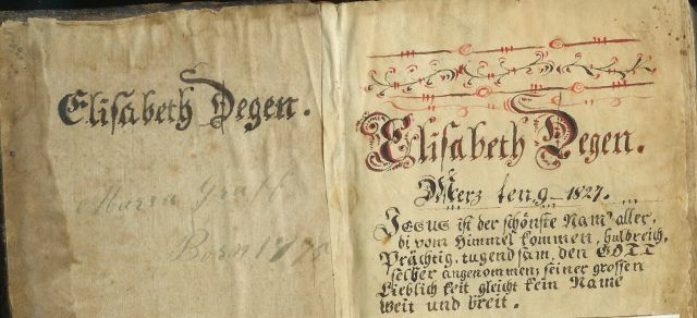 Degen Bible Elizabeth Degen's name