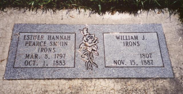 Smuin, Esther Hannah Pearce m. Irons headstone 001