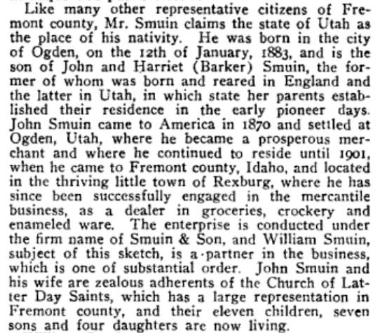 Smuin, John M. History of Idaho p. 1206