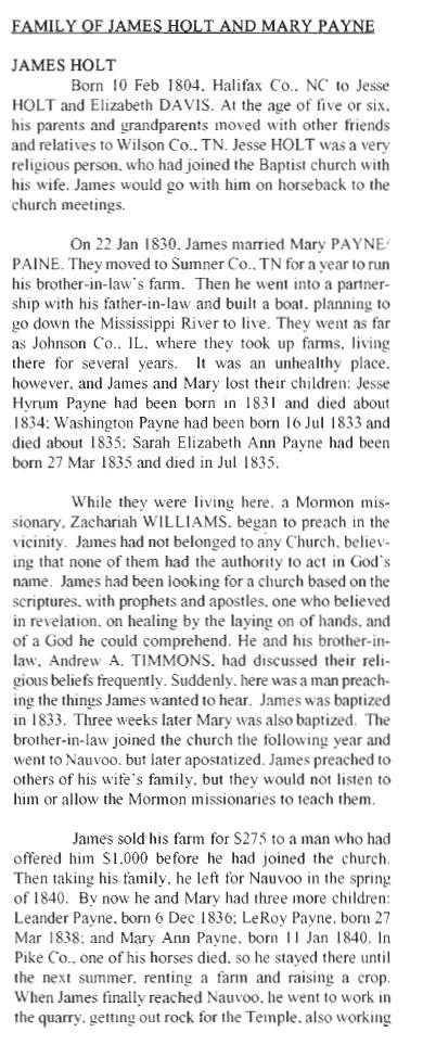 Holt, James & Mary History 1