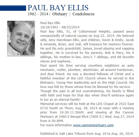 Paul B. Ellis Obituary Aug 2014