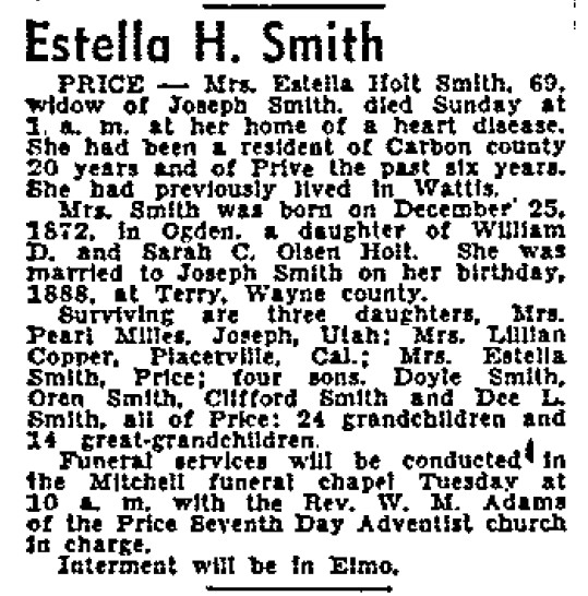 Holt, Estella m. Smith b. 1872 obit