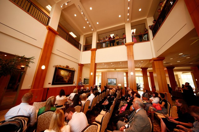 """1508-64 169 1508-64 Greg Olsen Painting Unveiling of Greg Olsen's new painting """"Treasures of Knowledge"""" that will be displayed in the family room of the Gordon B. Hinckley Visitors and Alumni Center. The painting was commissioned by Leo and Annette Beus. August 19, 2015 Photo by Jaren Wilkey/BYU © BYU PHOTO 2015 All Rights Reserved photo@byu.edu  (801)422-7322"""