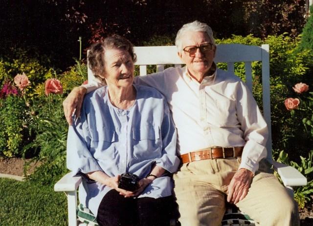 Lewis, John & Peggy in garden
