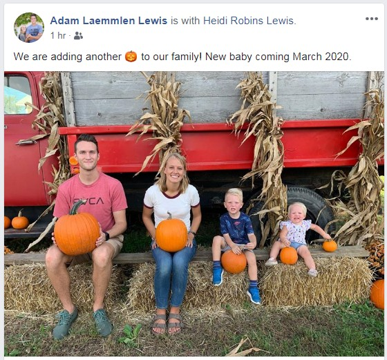 2019-10-7 Ad & Heidi baby announced
