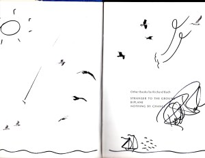 Richard Bach's autograph and art in my copy of Johnathan Livingston Seagull