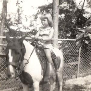 Me riding pony at Elizabeth's birthday party in Miami.