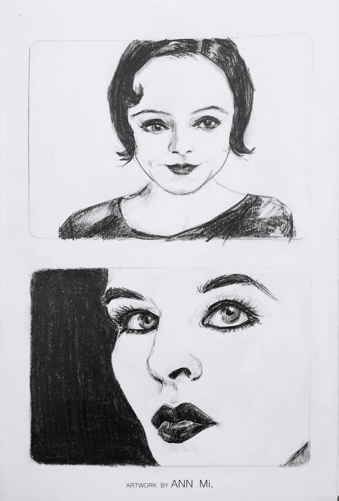 Female portrait sketches, 2015