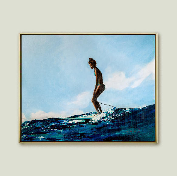 female surfer on wave