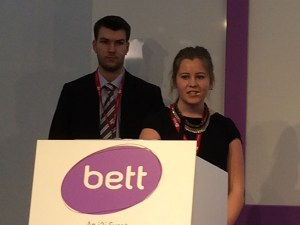Two students presenting at Bett 2014 in London