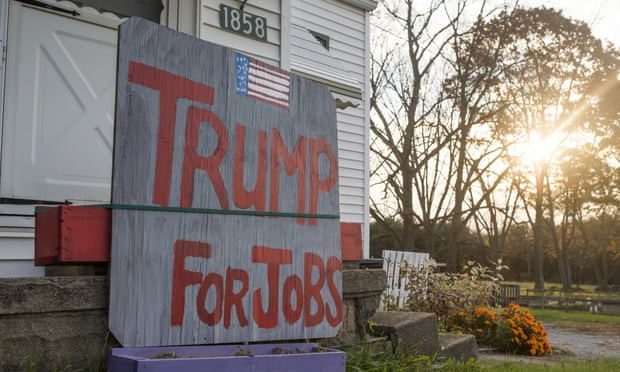 A sign in Columbiana County, Ohio, shows support for Donald Trump on the day of the US presidential election. Photograph: Ty Wright/Getty Images