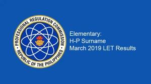 Elem-H-P Surname LET Results