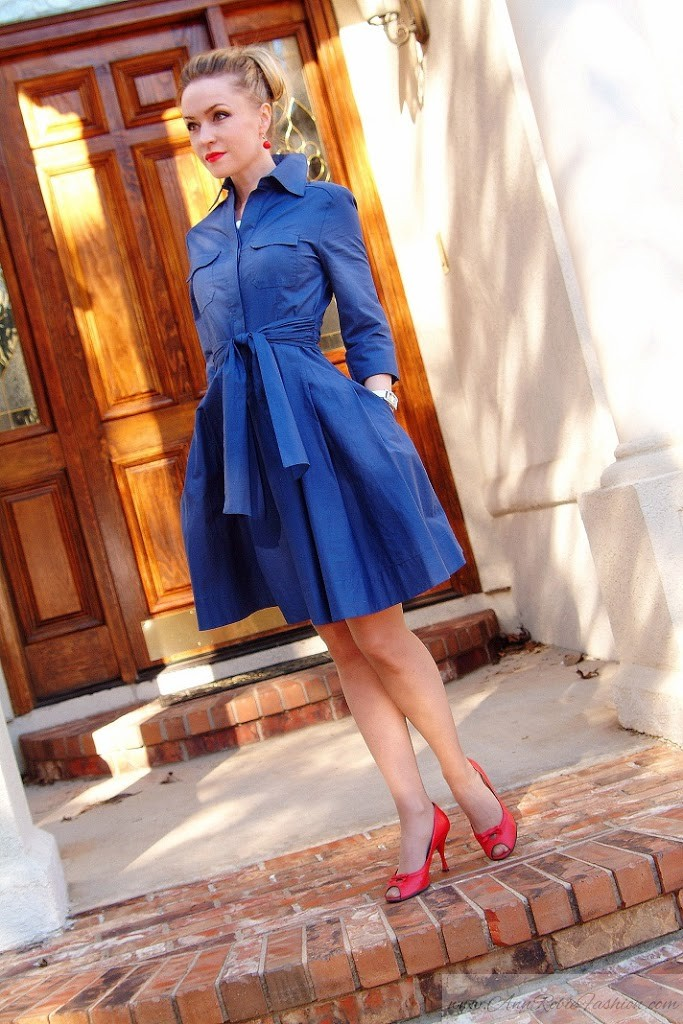 Blue 50s style dress by petite style blogger AnnRobieFashion