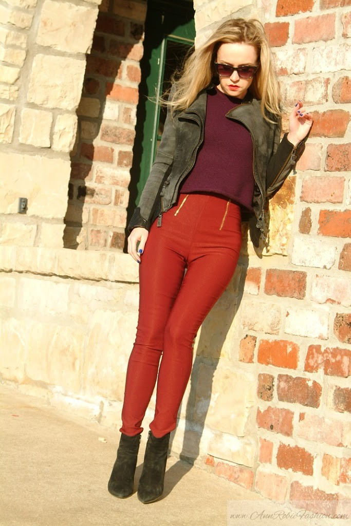 Burgundy skinny pants outfit by petite style blogger AnnRobieFashion