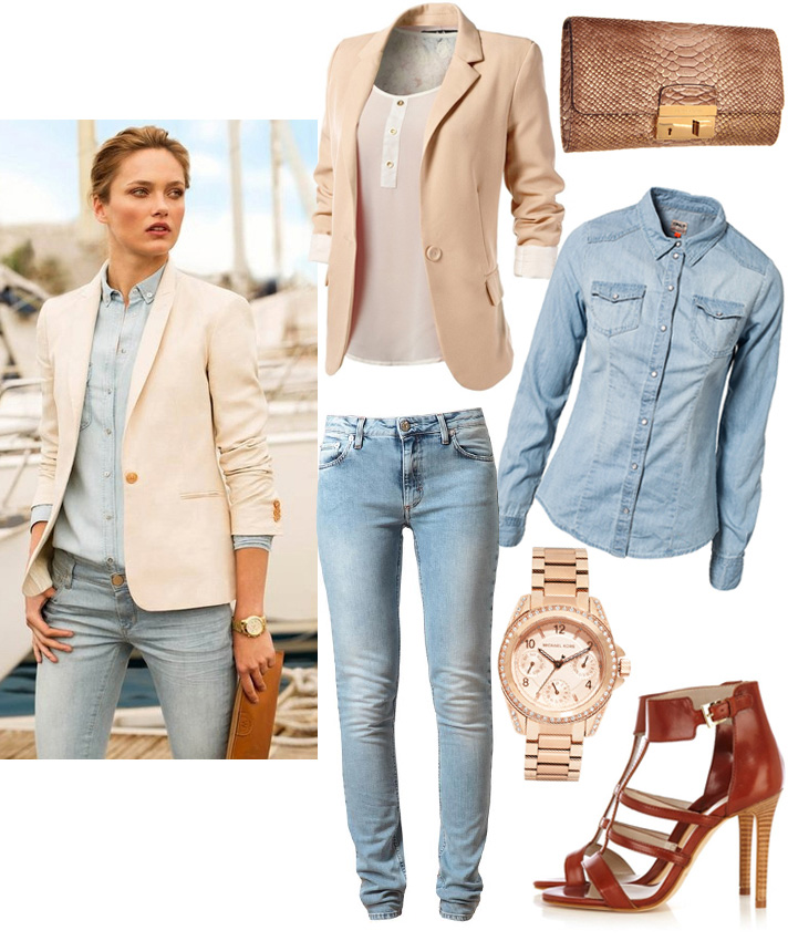 Get The Look by style blogger AnnRobieFashion: beige jacket, blue skinny jeans, blue denim shirt, brown leather heels