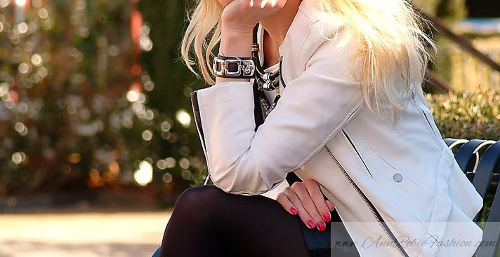 White leather jacket with a black mini dress by petite style blogger AnnRobieFashion