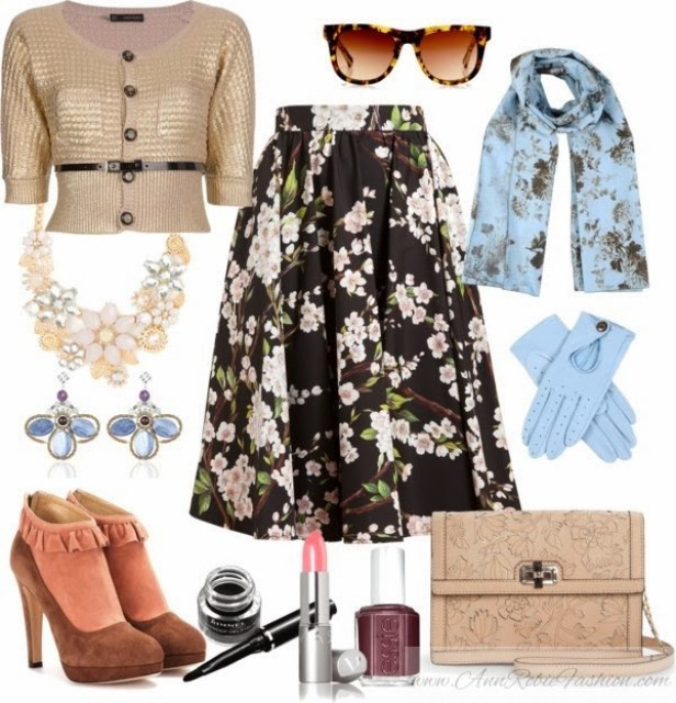 Outfit of the day: floral print midi skirt