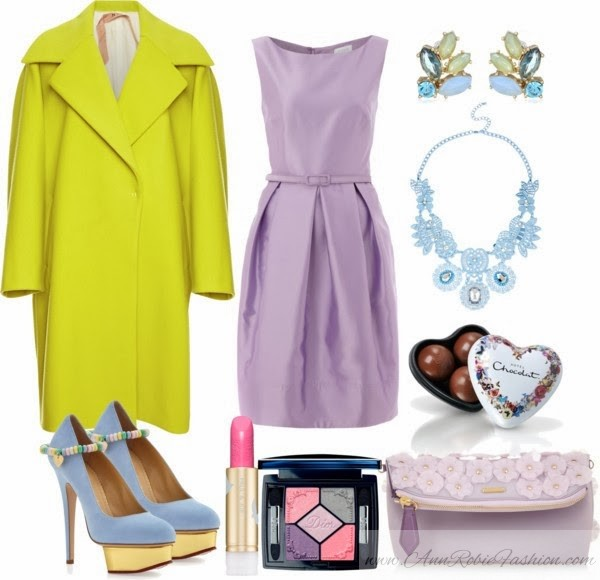 Outfit of the day: yellow coat, lilac dress, blue heels, lilac clutch