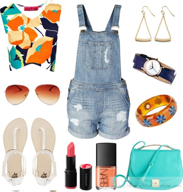 Orange blue outfit idea by style blogger AnnRobieFashion