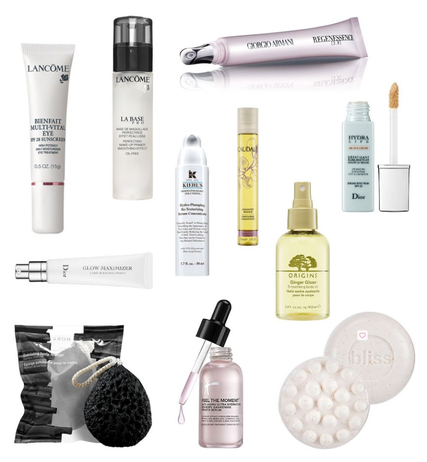 Moisturizing Eye Treatment, Lancome / Eye Rejuvenating Serum, Giorgio Armani Beauty / Makeup Primer, Lancome / Hydro-Plumping Serum, Kiehls / Contouring Concentrate, Caudalie / BB Eye Cream, Dior / Glow Maximizer Primer, Dior / Smoothing Body Oil, Origins / Charcoal Exfoliating Body Sponge, Sephora Collection /Awaking Primer Serum, It Cosmetics / Exfoliating Massage Bar, Bliss