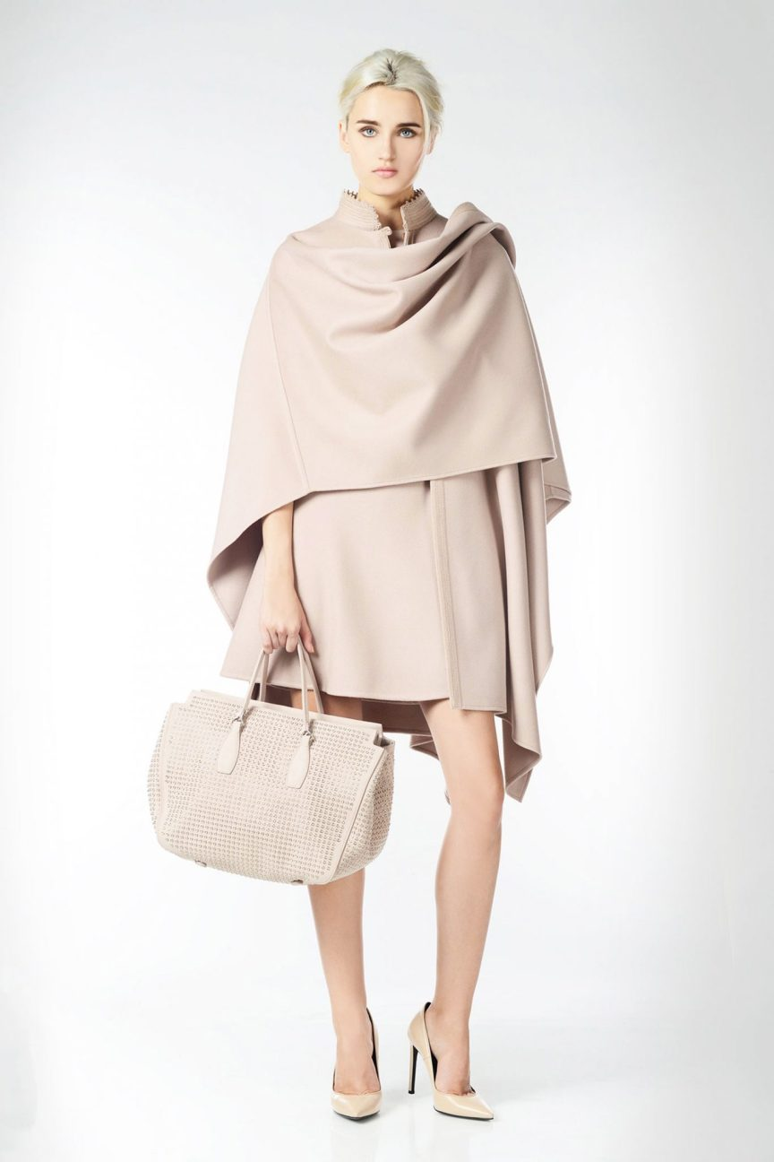 Ermanno Scervino Double wool cloak with hem and collar adorned by ton-sur-ton embroidered piping