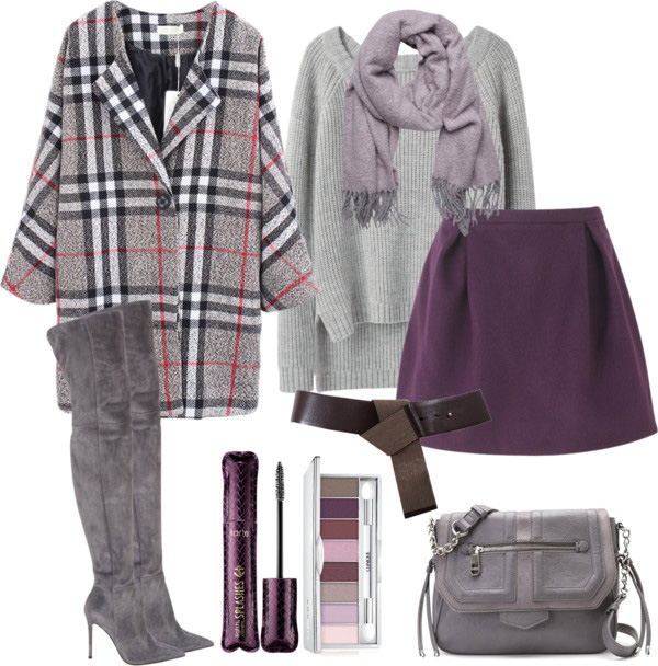 Super Bowl Style: Short skirt, grey chunky swetar, lilac scarf, plaid oversized coat grey over the knee boots with the high heels, Tart mascara, Clinique eyeshadow