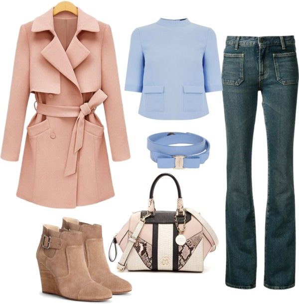 How to style flared jeans by AnnRobieFashion: flared jeans, baby blue top, beige coat and beige