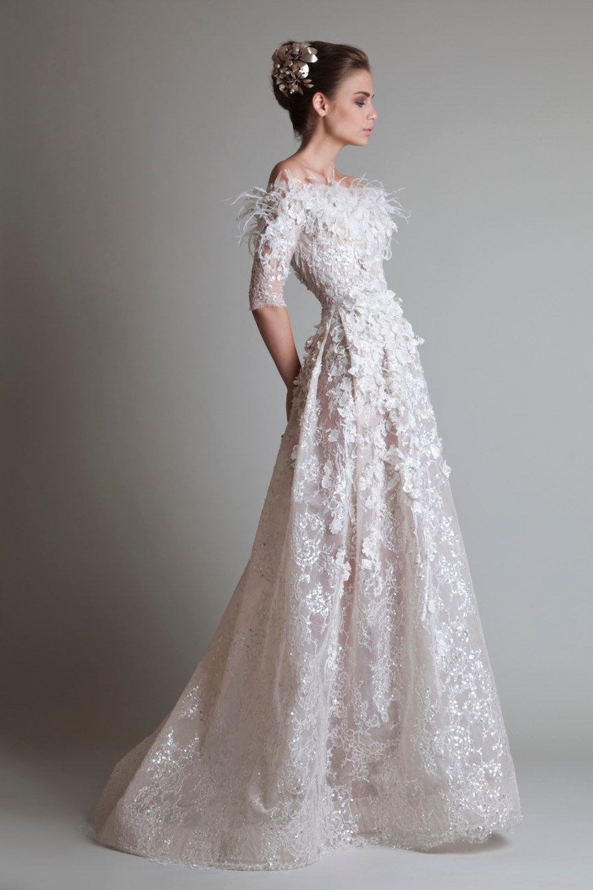 krikor Jabotian fw 13/14 off white long lace dress