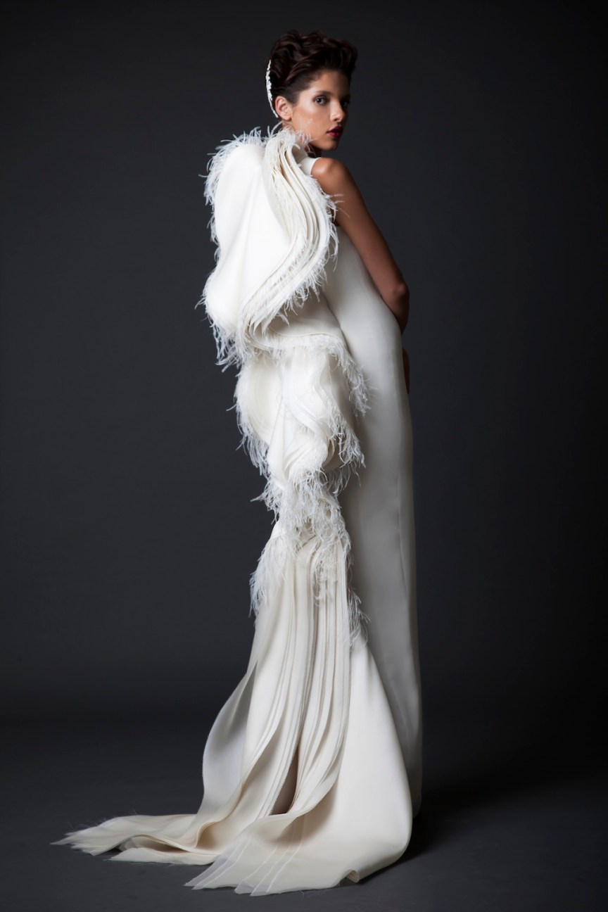 krikor Jabotian fw 14/15 white maxi dress with the wings