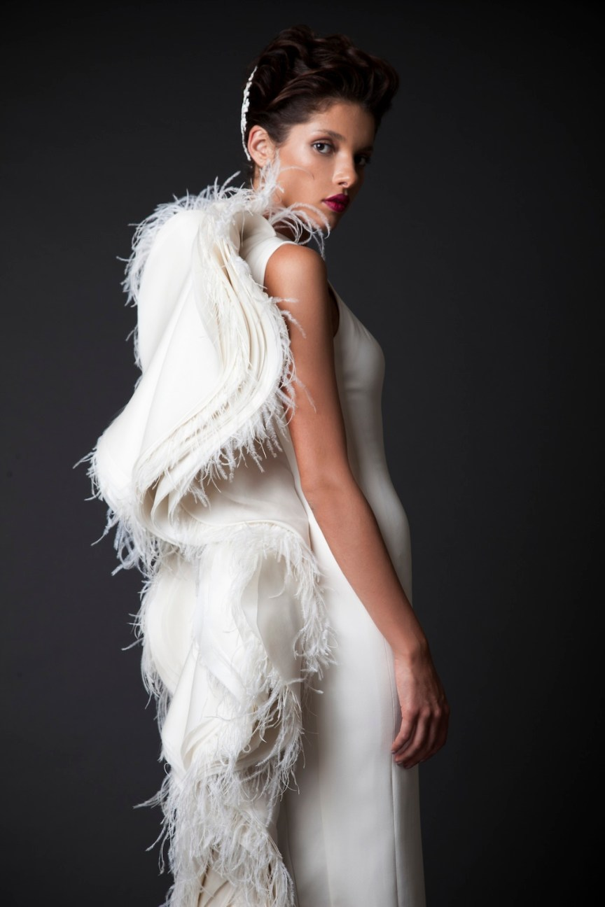 krikor Jabotian dress with wings fw 14:15