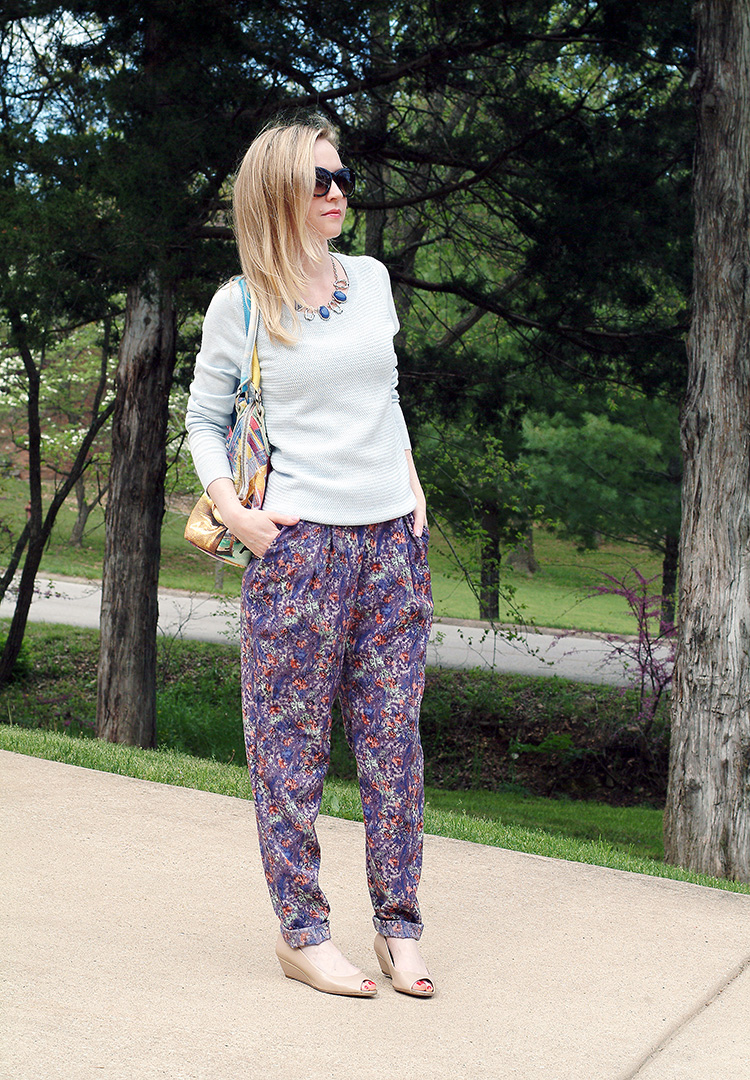 Street Style by fashion blogger AnnRobieFashion: BCBG pants, baby blue Ann Taylor sweater, tan flats