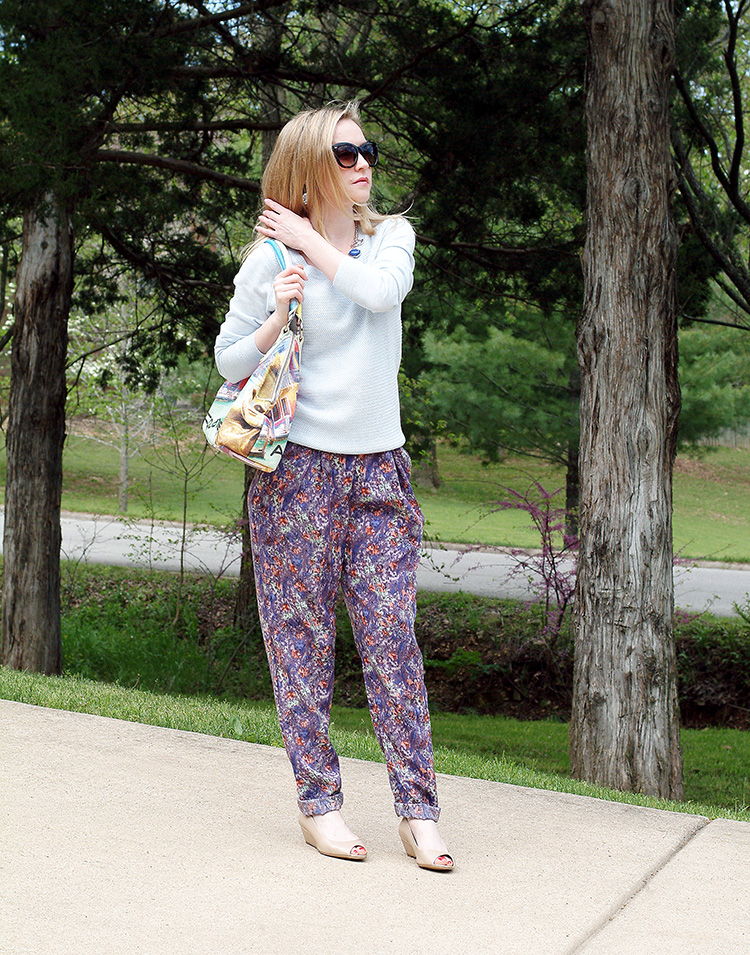 80s Style by fashion blogger AnnRobieFashion: BCBG pants, baby blue Ann Taylor sweater, tan flats