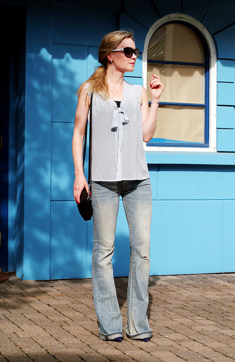 Outfit of the day by style blogger AnnRobieFashion: Blue Silk Sleeveless Top by Loft, Flared Jeans by Ralph Lauren