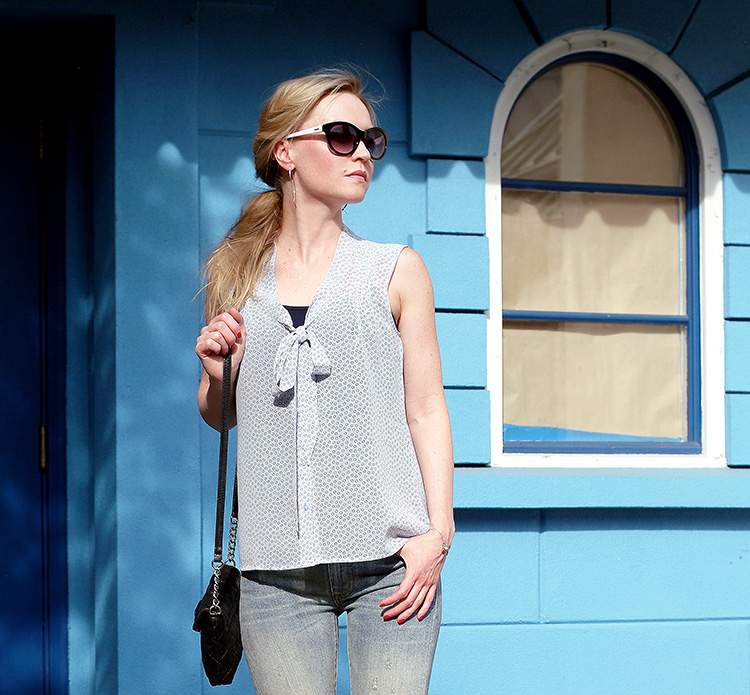 Outfit of the day by petit style blogger AnnRobieFashion: Blue Silk Sleeveless Top by Loft, Flared Jeans by Ralph Lauren