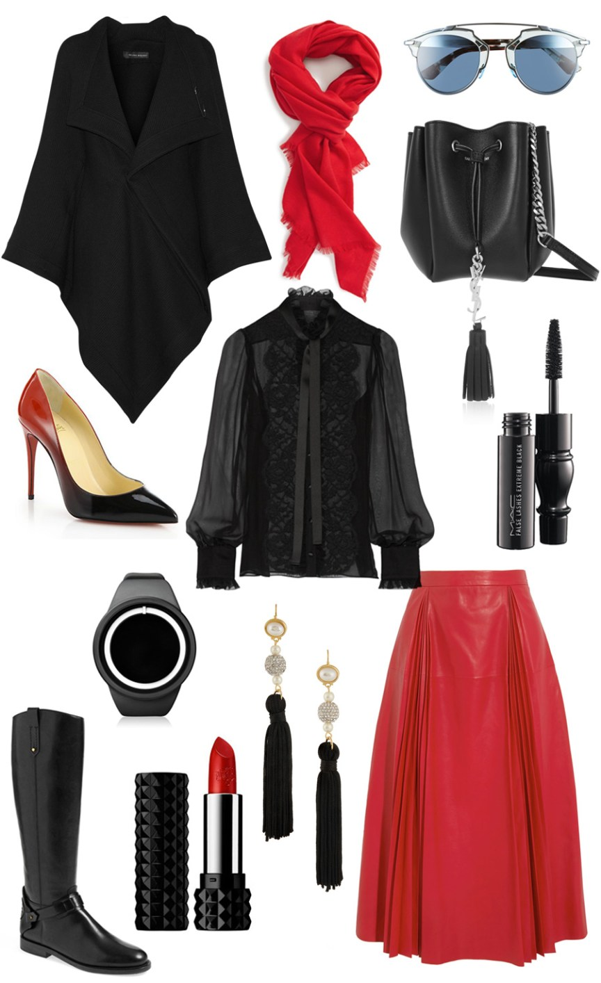Black and red style wardrobe (aka Dracula Style wardrobe): black Roland Mouret's 'Caneva' cape, Kat Von D Studded Kiss Lipstick, Pleated leather skirt Gucci, Pussy-bow lace-trimmed silk-blend chiffon blouse, Women's Dior 'So Real' 48mm Sunglasses, Monogramme Bourse mini leather bucket bag YSL, MAC 'Sized to Go - False Lashes Extreme Black' Mascara