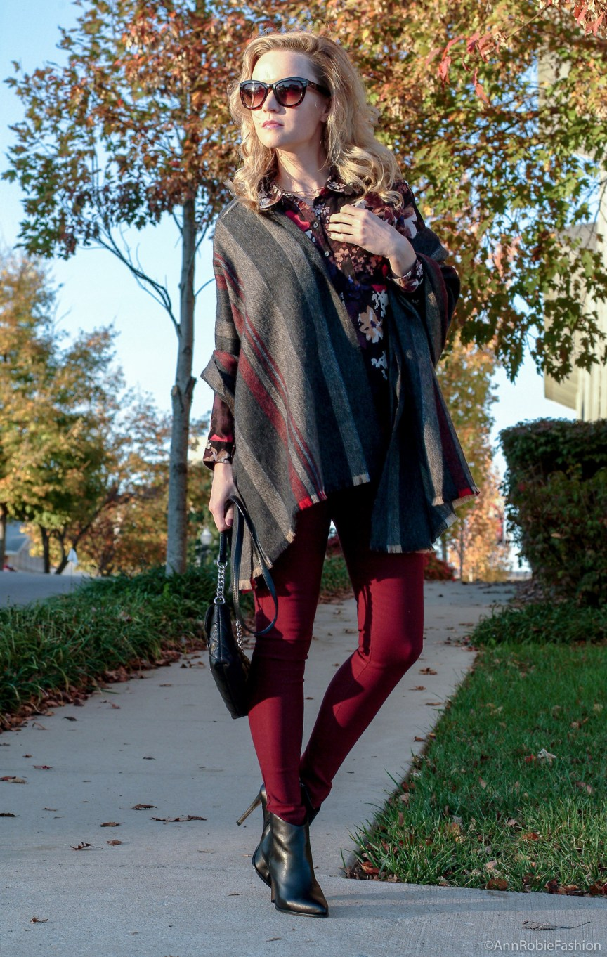 Cozy wrap for chilly weather: burgundy skinny pants Charlotte Russe, floral print shirt Loft, blanket scarf, black leather boties Vince Camuto - monochromatic casual outfit by petite style blogger AnnRobieFashion