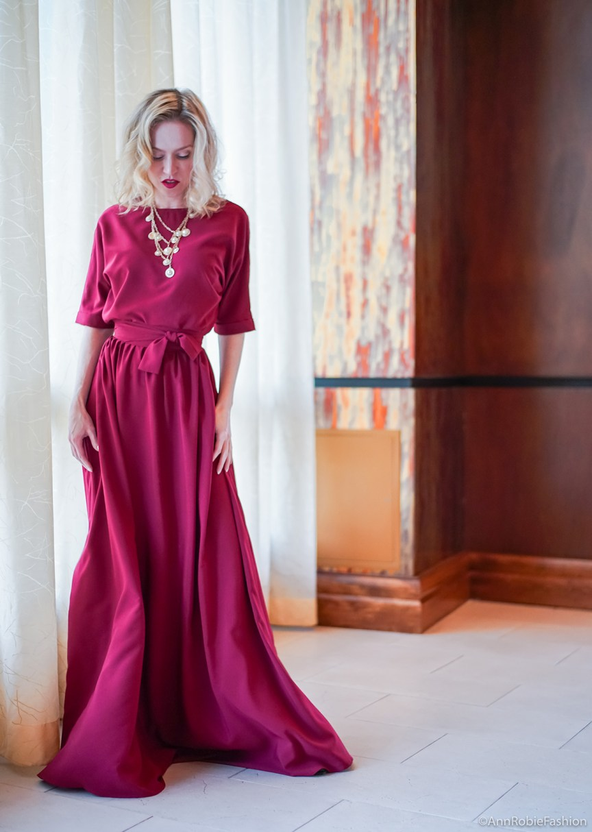 Burgundy or maroon maxi dress v