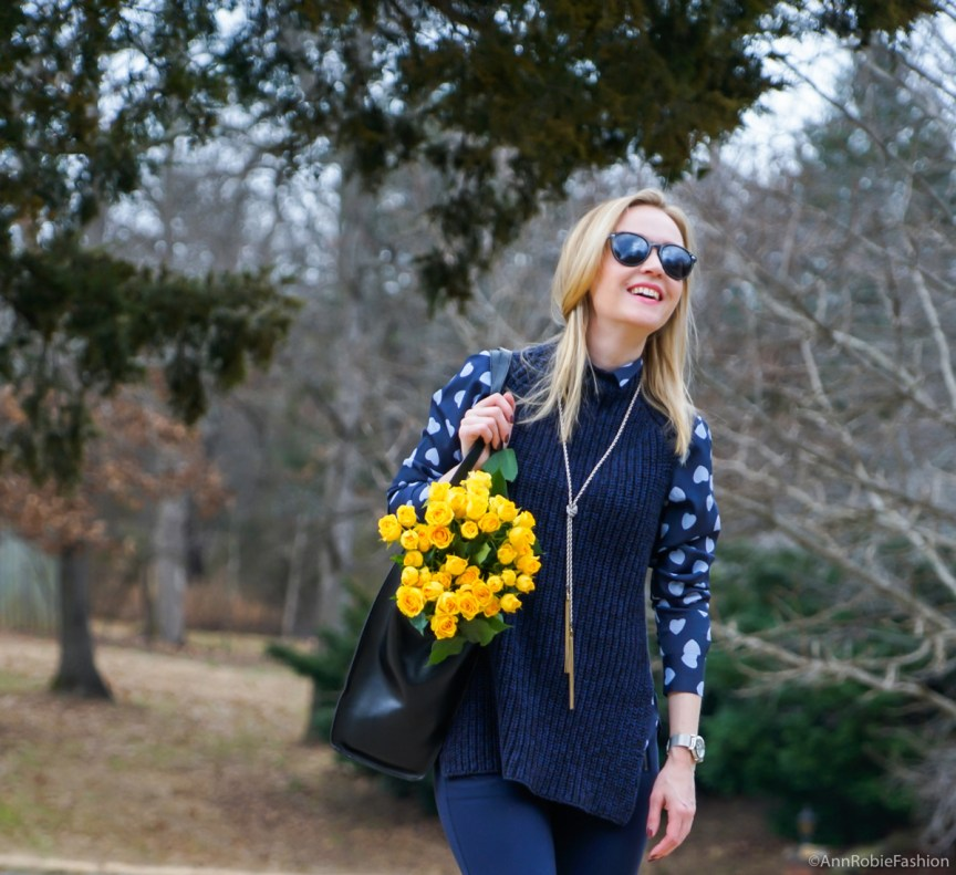 Navy blue heart print shirt AnnTaylor, blue chunky sleeveless sweater Ann Taylor, skinny pants LOFT, ankle boots Vince Camuto - outfit by petite style blogger AnnRobieFashion