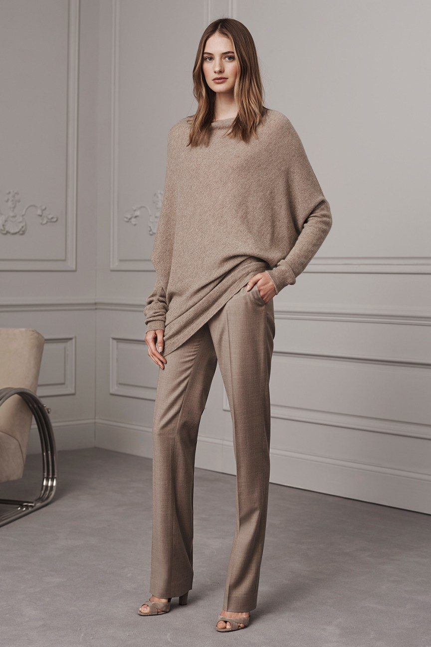 Ralph Lauren Pre-Fall 2016 Lookbook; pastel, beige pants, beige oversized sweater