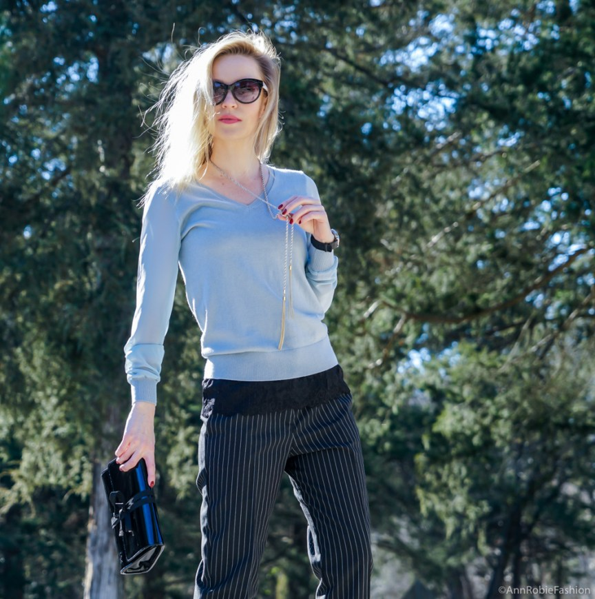 Winter basic wardrobe: blue sweater with the sheer sleeves Ann Taylor, striped pants Asos, leather ankle booties Vince Camuto - outfit by petite style blogger AnnRobieFashion