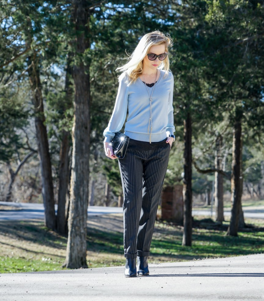 What to wear with light blue sweater: Blue sweater with the sheer sleeves Ann Taylor, striped pants Asos, leather ankle booties Vince Camuto - outfit by petite style blogger AnnRobieFashion