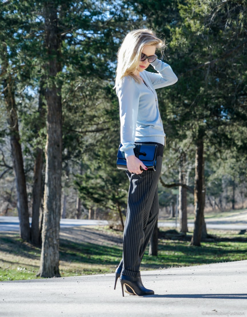 Back to basics: blue sweater with the sheer sleeves Ann Taylor, striped pants Asos, leather ankle booties Vince Camuto - outfit by petite style blogger AnnRobieFashion
