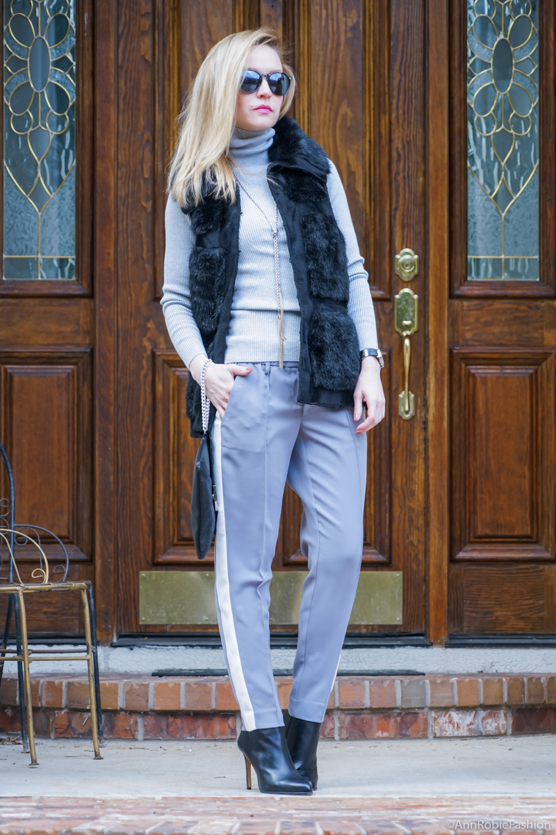 Grey striped pants LOFT, grey turtleneck sweater LOFT, faux fur vest Rachel Zoe, ankle booties Vince Camuto - winter outfit idea by petite style blogger AnnRobieFashion
